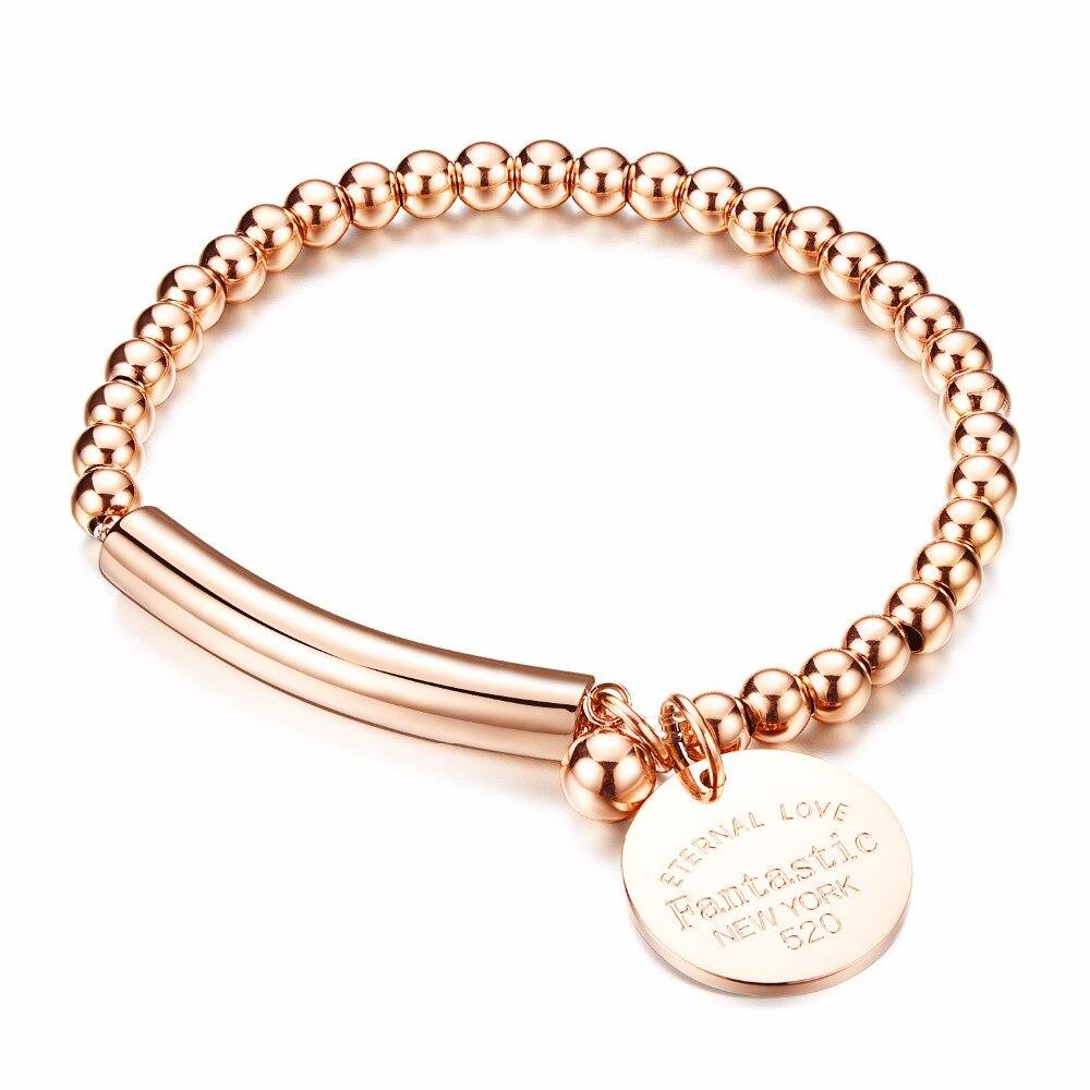 Prix pour Femmes En Acier Inoxydable de Bracelet Rose D'or Couleur Perle Bracelet Bijoux Perle Bracelet w/Médaillon Fille Cadeau En Gros GS81