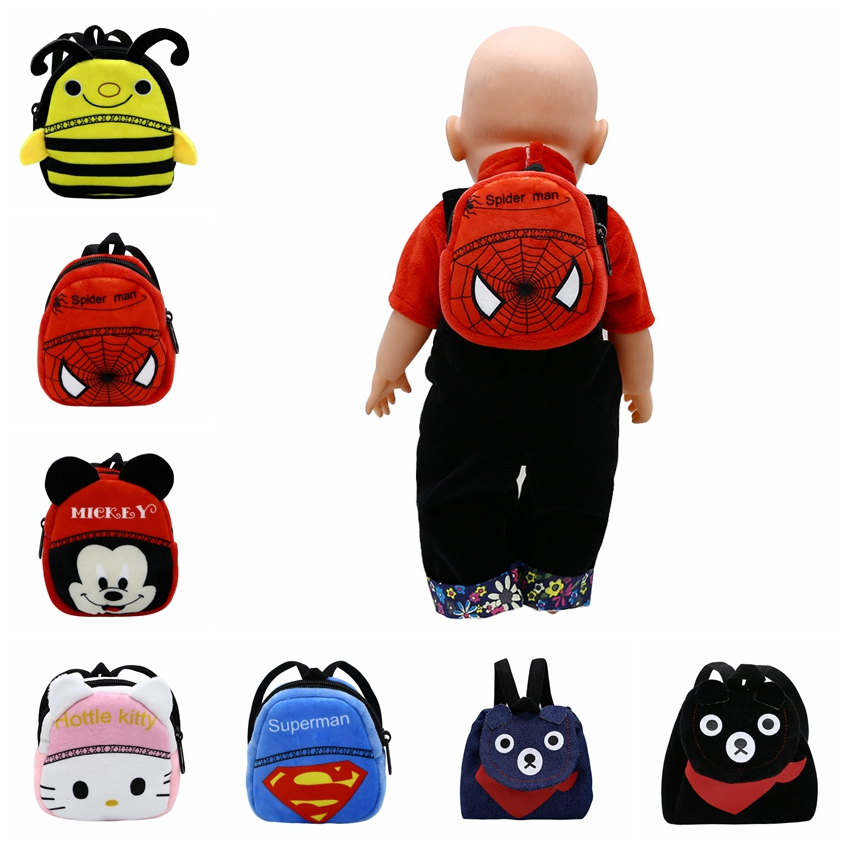 Doll Accessories 7 Styles Cute Backpack Schoolbag For 43cm Baby Doll And 18 Inch Girl Doll Birthday Gift B-4