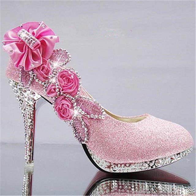 placeholder 2017 women high heels prom wedding shoes lady crystal platforms  silver Glitter rhinestone bridal shoes thin 3bad9e266cbf