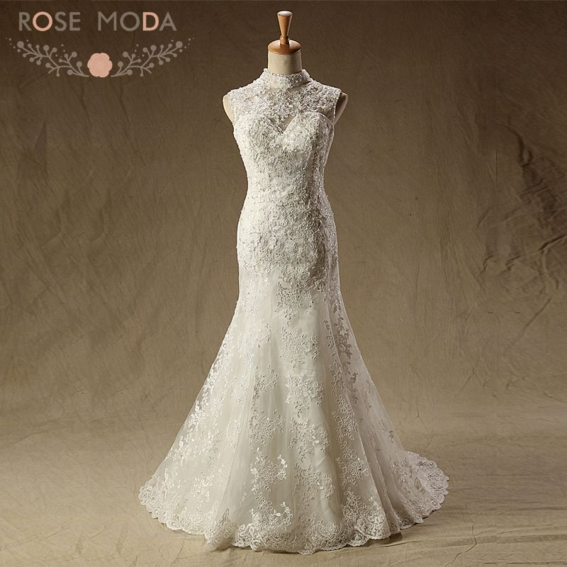 Rose Moda High Neck Lace Mermaid Wedding Dress Cut Out Back Wedding ...