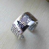 FNJ 925 Silver Lotus Ring Buddha Original S990 Sterling Thai Silver Rings For Women Men Jewelry