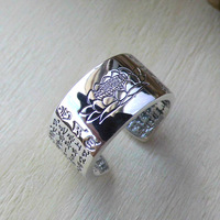 FNJ 925 Silver Lotus Ring Buddha Original S990 Sterling Thai Silver Rings For Women Men Jewelry