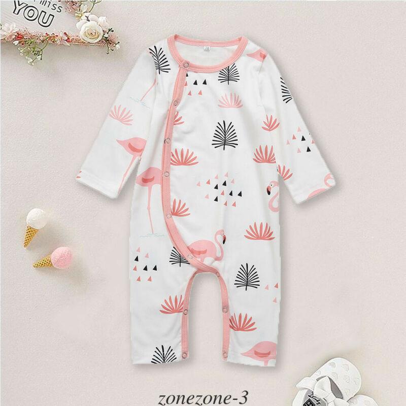 Комбинезоны с длинными рукавами для детей ясельного возраста, осенне-весенние хлопковые Пижамные комплекты унисекс с изображением фламинг...