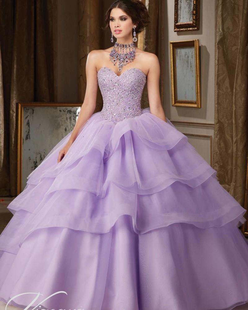Fashion Organza Ruffle Beaded Lavender Cinderella Ball Gown ...
