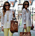 2015 de moda de verano de La Vendimia Mujeres Del Estilo Elegante de Encaje Calado Crochet Patchwork Blusas de Cuello Redondo de Manga Larga Camisas de La Gasa