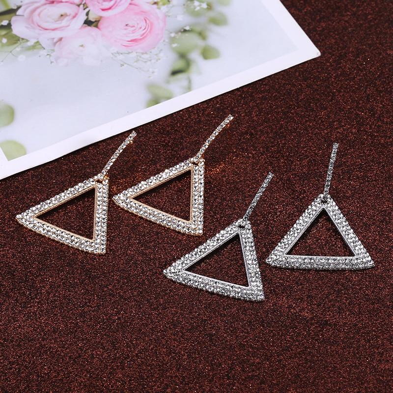 Rhinestone Geometric Pendant Dangle Earrings For Women New Simple Brincos Crystal Earrings Triangle Fashion Jewelry Wholesale in Drop Earrings from Jewelry Accessories
