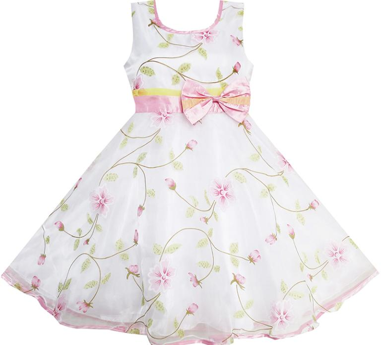 Sunny Fashion Girls Dress Flower Leaves Wedding White Pageant Bridesmaid Kids Children Clothes 4-12 Girl Summer Princess Dresses