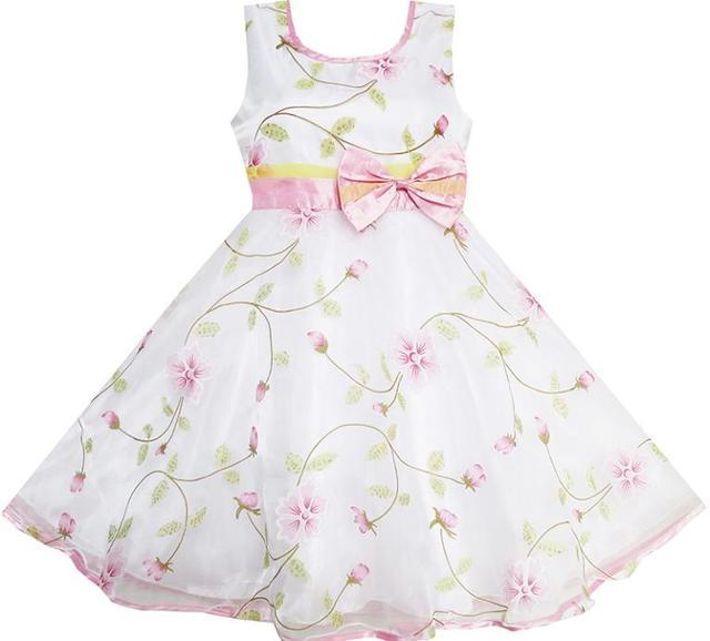 Sunny Fashion Las Niñas sale de la flor blanca de la boda del desfile de la dama de honor de Navidad para niños ropa de los niños de 4-12 verano de la muchacha de la princesa Vestidos