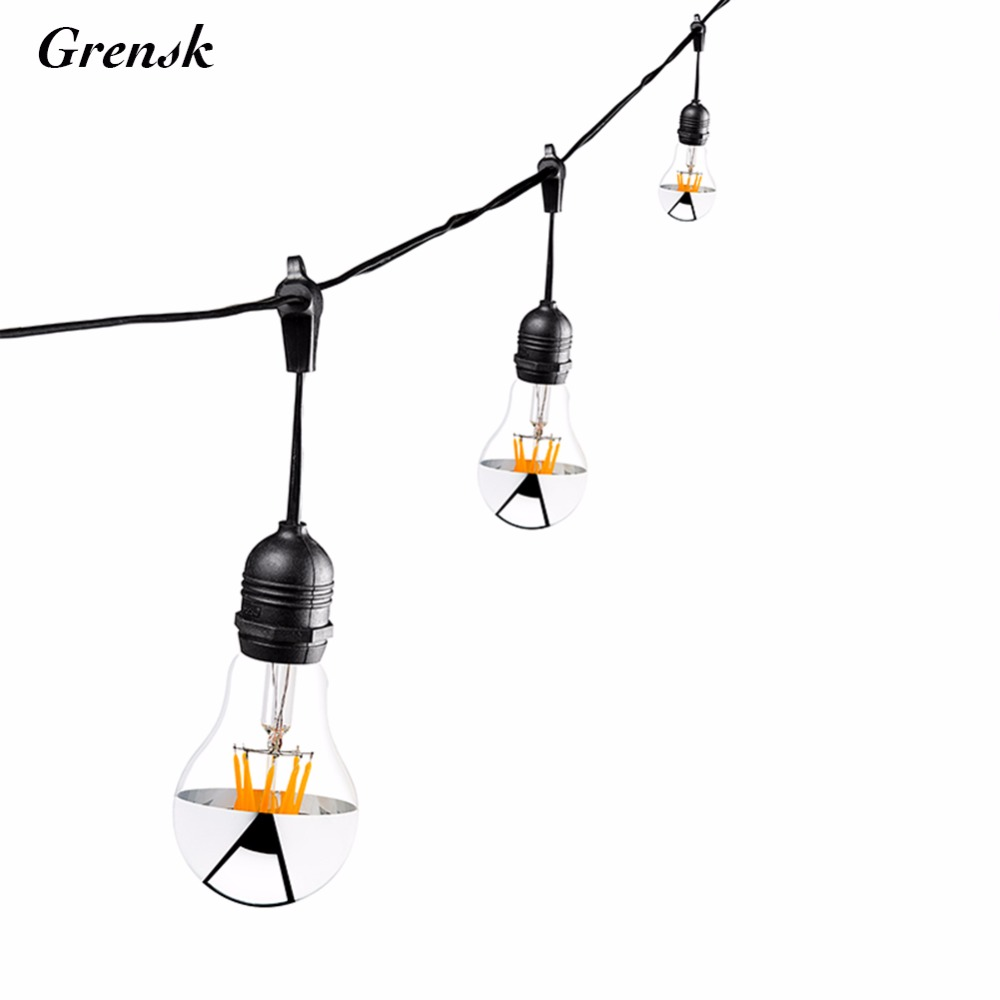 10M,Outdoor String Lights,Sliver Crown,LED Filament Lights,10 Edison Weatherproof Vintage Dimmable Bulbs,Garden Holiday Lighting 24 feet outdoor string lights weatherproof commercial grade outdoor lights with 12 hanging sockets and 18 edison bulb 11w