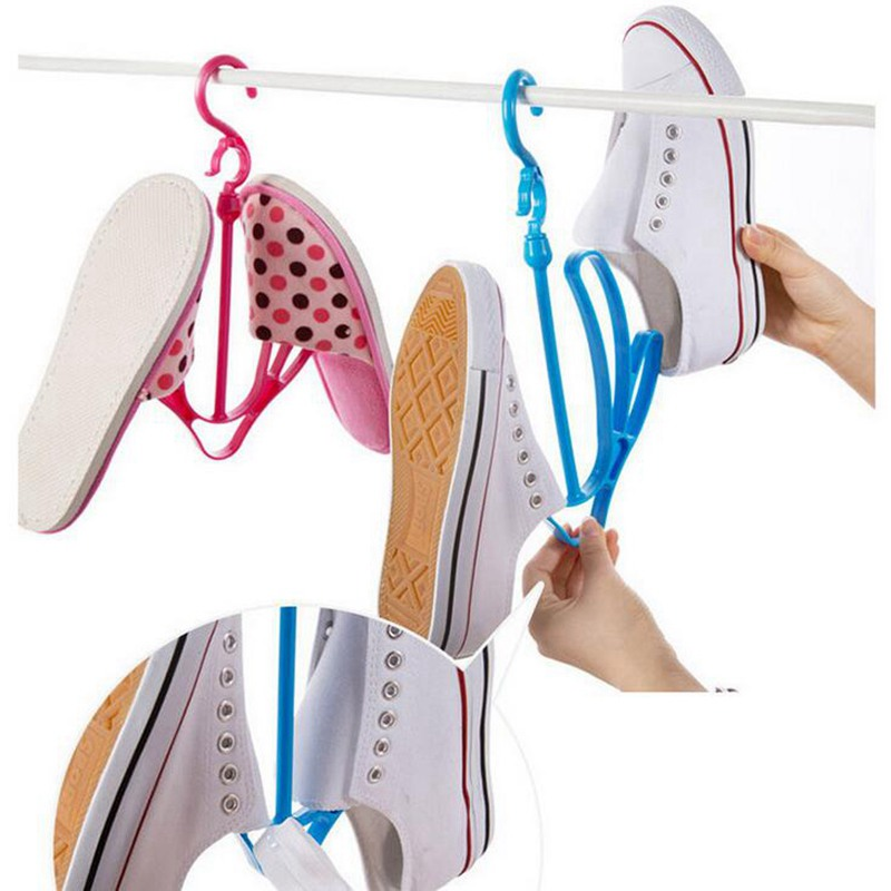 2 Hooks Plastic Shoes Drying Rack Pink/Green/Blue Shoes Hanging Storage Shelf Drying Rack Shoe Rack Stand Hanger Organizer