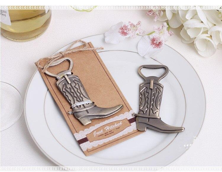 Just Hitched Cowboy Boot Bottle Opener European shoes opener wedding Favor 100pcs/lot