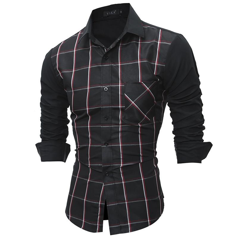 Plaid Men Shirts Tailoring Slim Fit Cotton Mens Dress