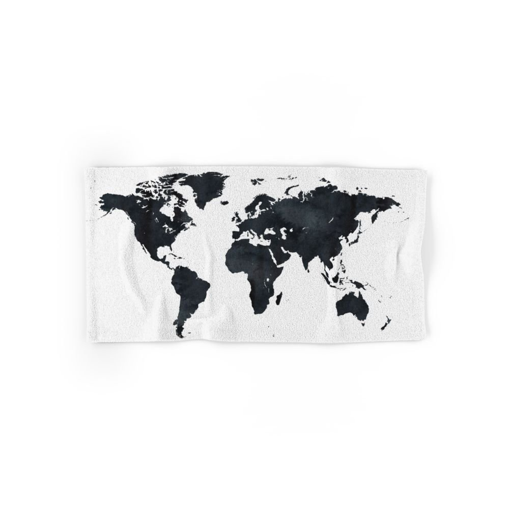 Hot sale world map in black and white ink on paper globe map world map in black and white ink on paper globe map tapestry hand towel 30 gumiabroncs Image collections
