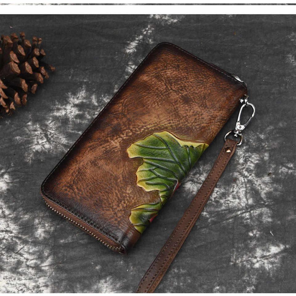 محفظة نسائية بعلامة تجارية بتصميم حقيبة نسائية من الجلد الأصلي محفظة نسائية بـ 3 ألوان محفظة نسائية طويلة