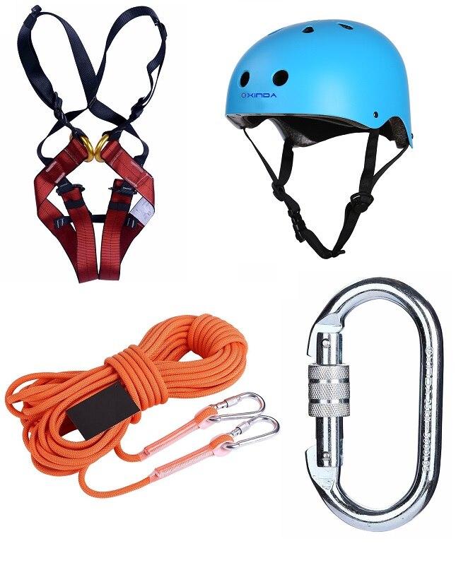 Children Rock Climbing Safety Belt Insurance Belt Protective Belt Helmet Mountaineering Drift Safety Rope Rescue Escape Rope
