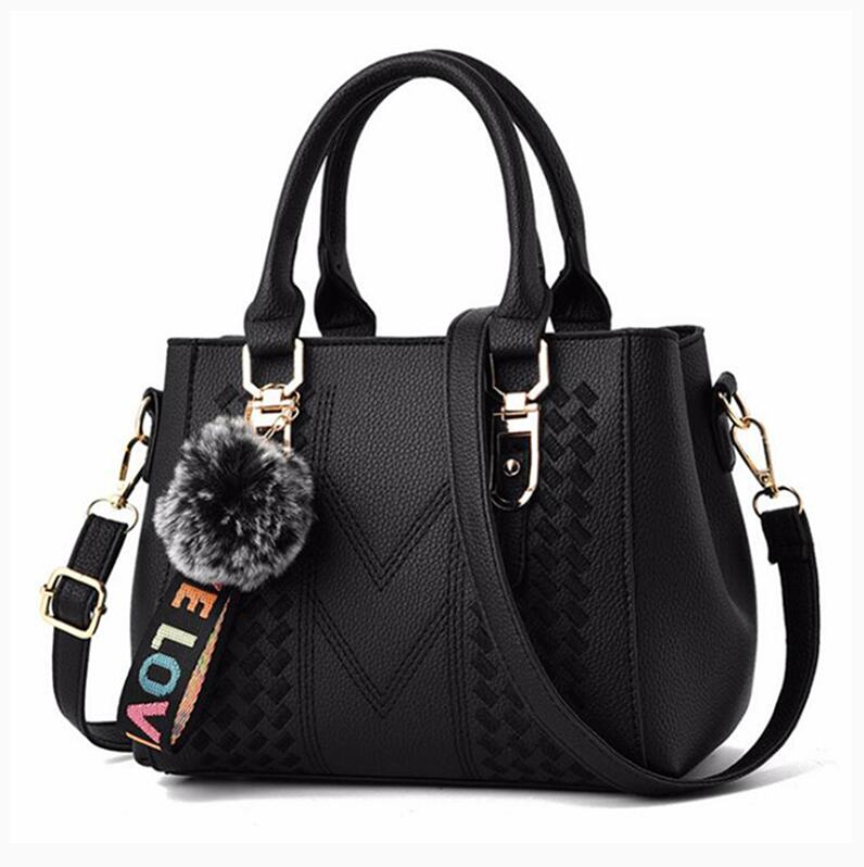 Embroidery Messenger Bags Women Leather Handbags Bags for Women 2020 Sac a Main Ladies hair ball Hand Bag
