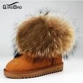 QIAOBAO 100% Couro Do Couro + Pele De Guaxinim Mulher Bota botas de neve raposa botas de neve pele de Couro do inverno