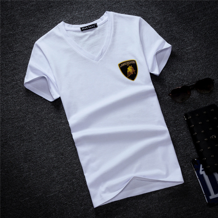 Men's Tops Tees letter print 2018 summer new cotton v neck short sleeve   t     shirt   men fashion trends fitness tshirt size S-5XL