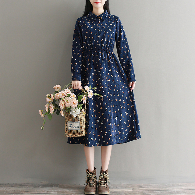 06e3c750e45 Autumn Winter Warm Dress Fall Clothes 2018 Women Long Sleeved Navy Blue  Floral Corduroy Dresses M-XXL