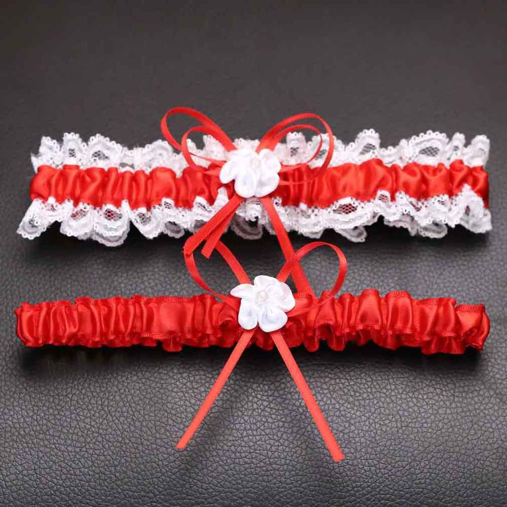 2Pcs/Set Women Wedding Bridal Garter Belt Lace Sexy Bow Lingerie Leg Ring Sets Bretelle Suspender Belt Lace Stocking Belt