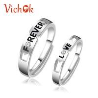 VICHOK стерлингового серебра 925 кольца пара с навсегда и любовные письма платиновым покрытием кольца для Для женщин Для мужчин изменение разме...