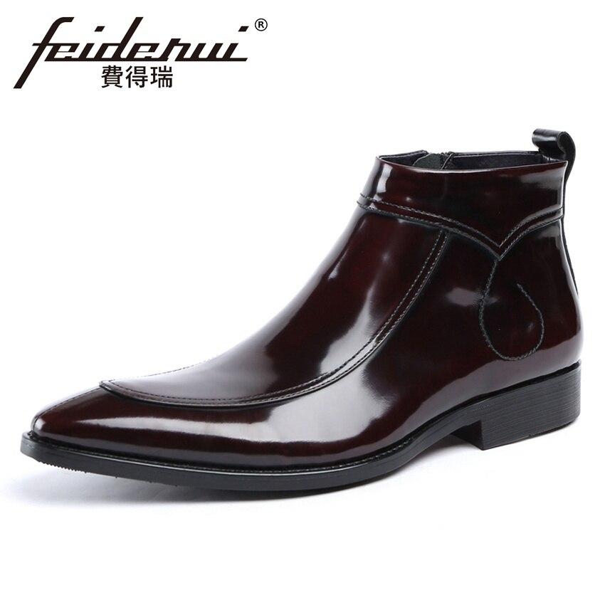 все цены на Luxury Patent Leather Men's Martin Ankle Boots Italian Pointed Toe Handmade Footwear Cowboy Riding Man High-Top Shoes YMX600 онлайн