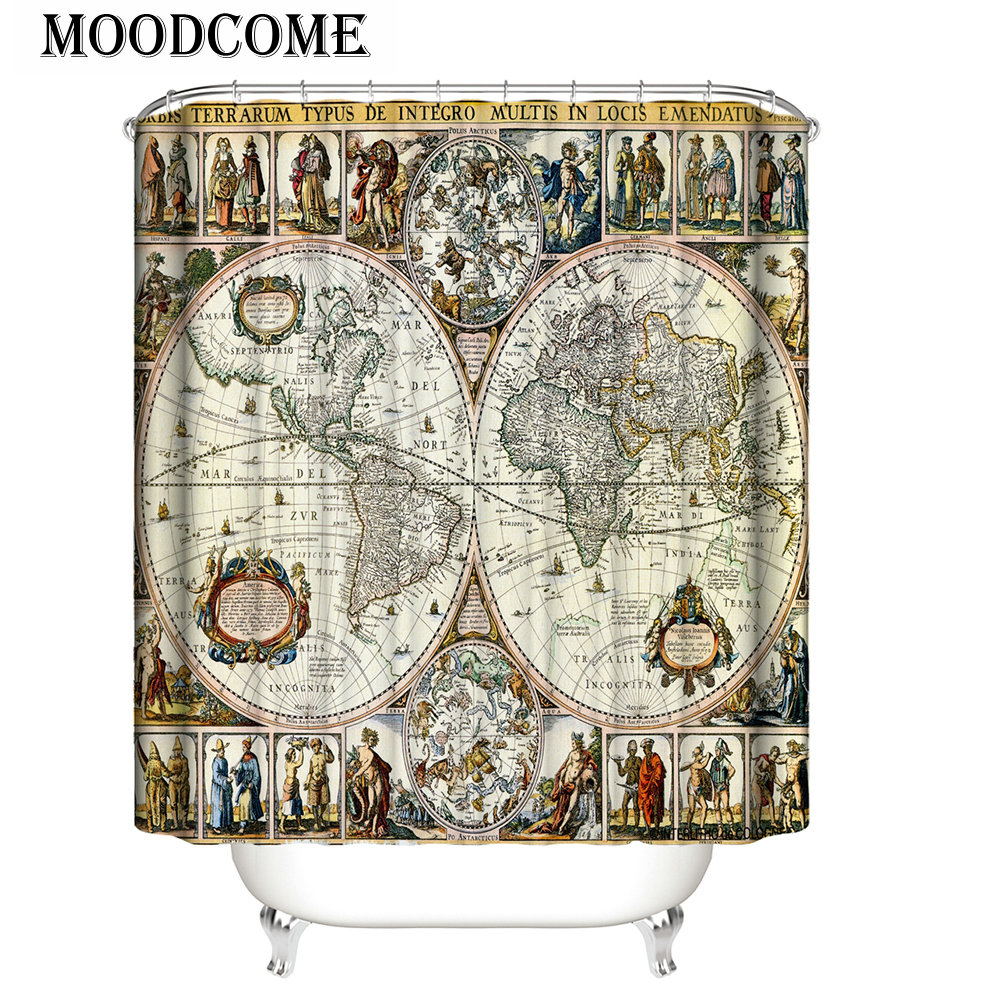 Vintage Europe Shower Curtain World Map