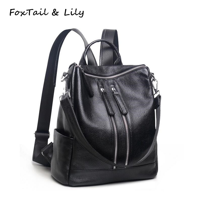 FoxTail & Lily 100% Genuine Leather Women Backpack Hot Fashion School Bags for Girls Practical Casual Shoulder Bag High Quality foxtail