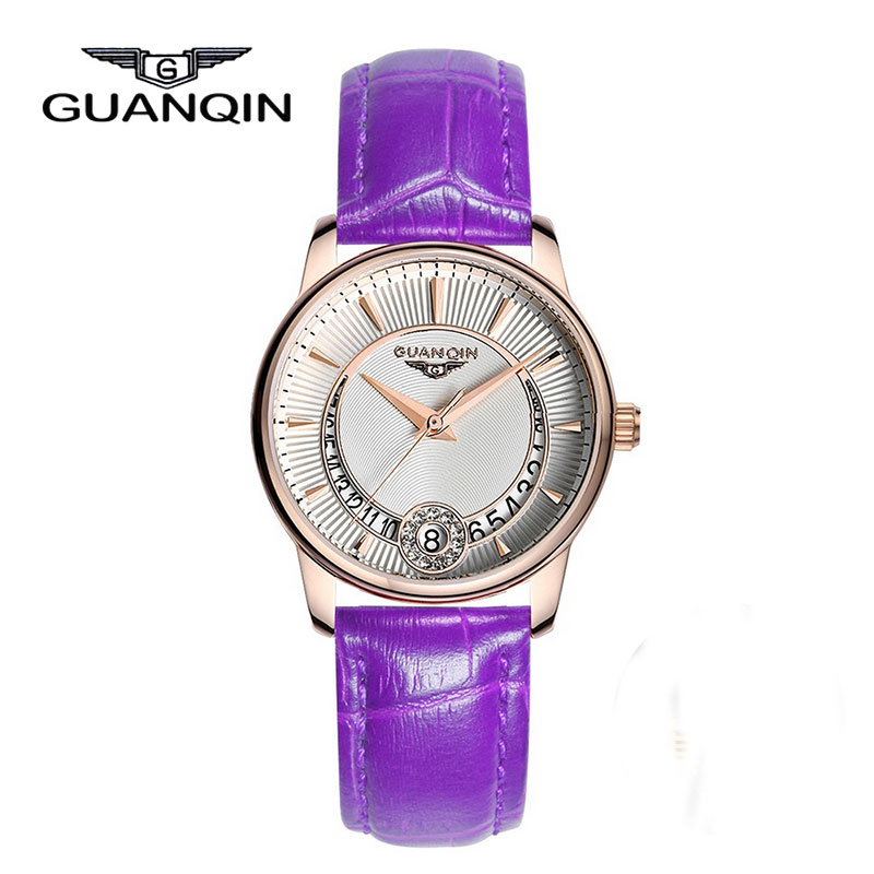 ФОТО GUANQIN GQ15009 Famous Brand Woman Watch Diamond Ladies Watches Quartz Luxury Waterproof Leather Watch Female Montre Femme