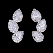 Siscathy Luxury Clear Waterdrop Cubic Zirconia Earrings Trendy Engagement Wedding Party Nightclub Silver Statement 2019