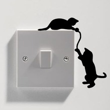 Removable Cute Black Cat Awitch Wall Sticker Vinyl Decal Home Decor Decals DIY Home Decoration Art Wall Paper Free Shipping BB-5 цены