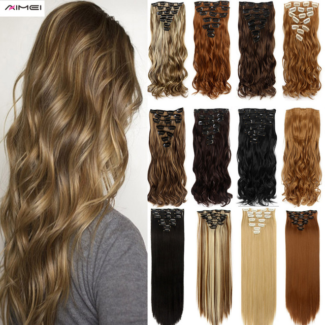 Aimei 20 Women 7pcs Synthetic Clip In Hair Extensions Wavy Pure