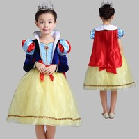 High Qual New Girls Cinderella Dresses Children Snow White Princess Dresses Rapunzel Aurora Kids Party Halloween
