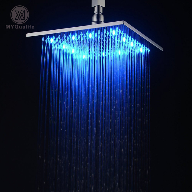 Led 10 Inch Waterfall Rain Shower Solid Br Head With Color Changing Light Chrome Finished