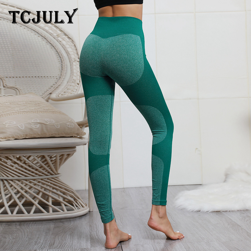 TCJULY 2019 New Design Knitted High Waist Fitness Leggins Skinny Push Up Workout Pants Contrast Elastic Slim Flex Women   Leggings