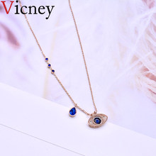 Vicney High quality Titanium steel Necklace Gold Color Chain Blue Crystal Evil Eye Necklaces Pendants Jewelry for women girls(China)