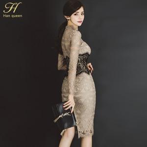 Image 3 - H 한 여왕 여성 우아한 섹시한 레이스 Bodycon Vestidos 2019 봄 빈 밖으로 연필 드레스를 통해 볼 패치 워크 슬림 시즈 드레스