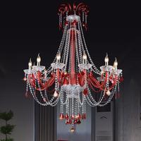 Торговый центр led Pendientes Свадебные свечи люстры китайский красный кристалл Люстра Кофе магазин отеля вилла лестницы лампа