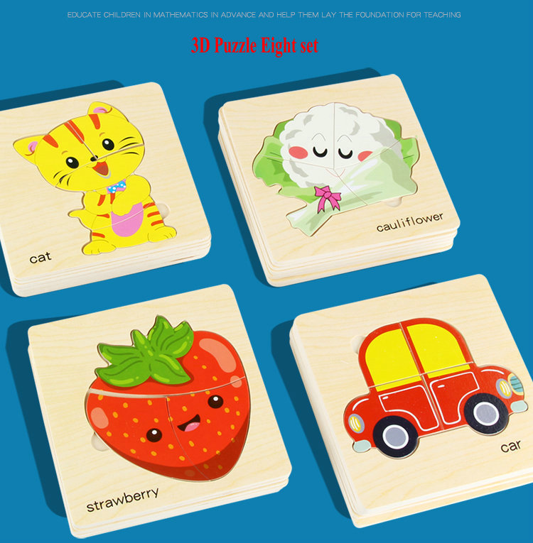 8Pcs Wooden Jigsaw Puzzles Children Education Wood Toy Suitable For 3 Age