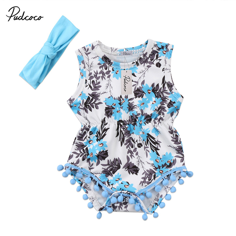 Hot sell Newborn Toddler Baby Girls Clothes Sleeveless Floral Romper Headband Jumpsuit 2pcs Outfits Flower Clothing