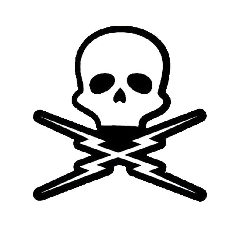 15*15.2CM Death Proof Skull Car Stickers Reflective Vinyl Motorcycle Decals Black/Silver C7-0994 image