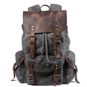 M229 multifunction casual lona mochilas do vintage à prova dwaterproof água grande capacidade bolsa de viagem feminina mochila de couro portátil