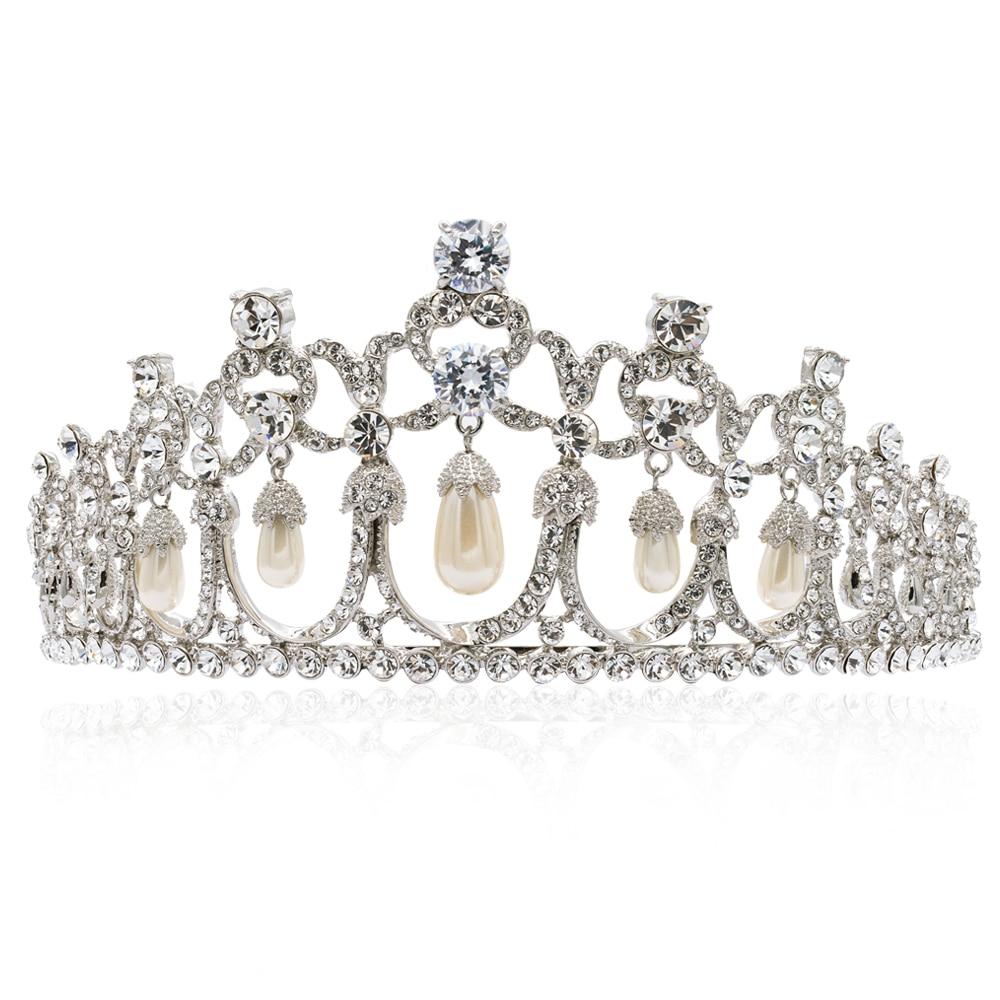 High Quality Rhinestone Crystals Imitation Pearls Bridal Flower Tiara Crown for Wedding Hair Jewelry Accessories JHA8322 цена