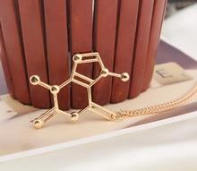 3 color Dopamine Molecule Structure Caffeine Necklace Pendant Science Biochemistry fashion men and women   free shipping