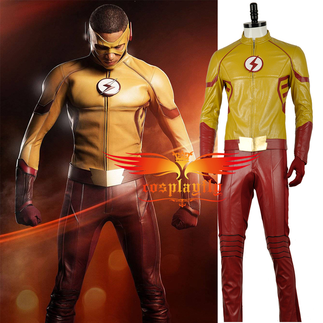 2016 Movie The Flash Season 3 Wally West II Kid Flash Leather Clothing Cosplay Costume Outfit & 2016 Movie The Flash Season 3 Wally West II Kid Flash Leather ...