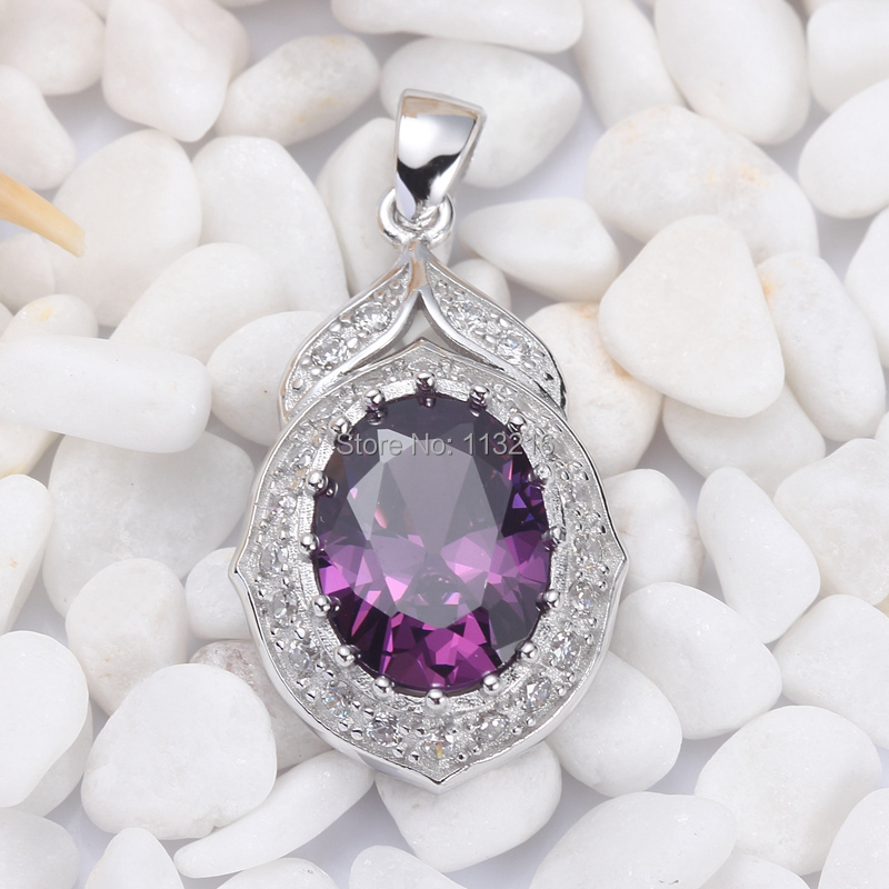 Eulonvan Jewelry Purple and white Cubic Zirconia Beautiful 925 sterling Silver Wholesale Pendant S-3752 Favourite Best Sellers