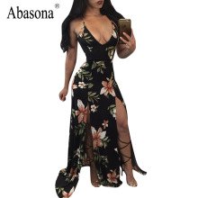 Abasona Sexy v-neck sleeveless summer beach dress 2017 Vintage floral printed party maxi long Dresses split women backless dress