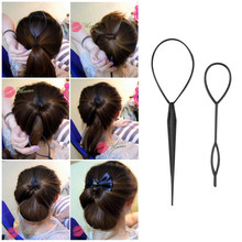 Fashion Topsy Tail Hair Braid Pony Tail Maker Styling Tool Salon For Girls Black Hair Loop Tools 40sets/lot(China)