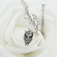 Trinketsea Brand New Syle Fashion Women Y Shape Costume Necklace Jewelry Platinum Plated Base Owl Pendant