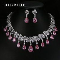 HIBRIDE Top Quality Tear Drop Shape AAA Cubic Zirconia Bridal Wedding Jewelry Sets Gold Plated Jewelry